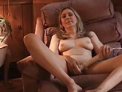 Pretty milf masturbating until orgasm on a chair
