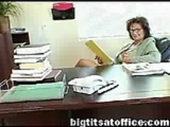 Mature mature mom fucks computer repairman in her office