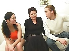 Mature woman and teen enjoy a lucky guy