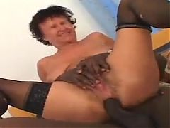 Black Fucks Her Hairy Mature Ass
