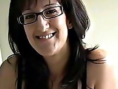 Nerdy milf talks dirty and fucks for a facial
