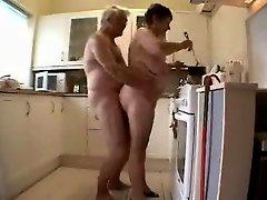Granny And Grandpa Having Fun In The Kitchen
