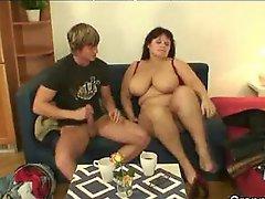 Old Busty Chick Fucked By Younger Guy Bbw Fat Bbbw Sbbw Bbws BBW Porn Plumper Fluffy Cumshots Cumshot Chubby