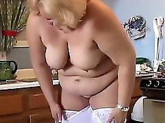 Chubby blonde MILF has nice big tits