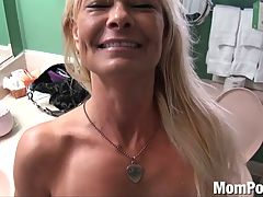 Ex stripper cougar does first porn BTS