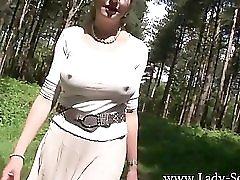 Some woman having a pee outside as you do