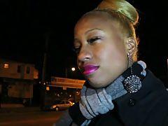 Street Amateur ebony teen prostitute hood threesome