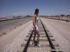 Fit Stripper MILF fucks on train tracks
