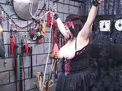 Dark Haired Fat Bitch Restrained And Humiliated In Bdsm Lair