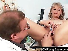 Beautiful blonde milf Alena piss hole doc exam