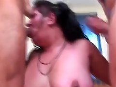Mature Gets Handled By Two Cocks