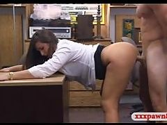 Big ass babe pawns her pussy and banged in the backroom