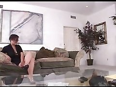 Chubby Glasses Girl Fucked On Couch By Troc
