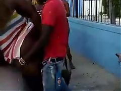 Jamaican BBW getting pounded on a car infront of people