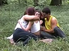 The Girls Eat Cum From Both Of The Guys