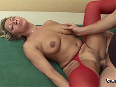 German Mom wake up by young men to fuck hardcore