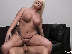 Blonde bbw gf loves riding his cock