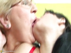 A pregnant girl fucked by two horny mature woman