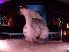 She is so sexy in that lace stocking while she rides th