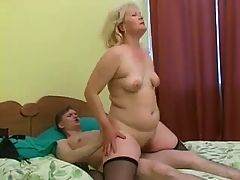 Chubby Mature Blonde Fucks With Young Man