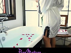Puremature French Sexy Mom Seduced In Rose Petal Bath