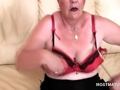 Dirty Mature Strips Her Fishnets To Rub Hairy Cunt