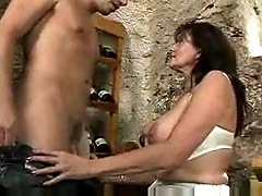 Fucking his busty stepmother in the wine