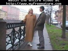 Plump Granny Smiling Blonde In Stockings And A Guy Matu