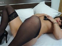 Sexy fishnetted milf squirts from her tits