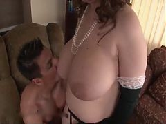 Busty mature in gloves fucked and sucking