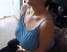 Mature wife fucks hubby with the tv on